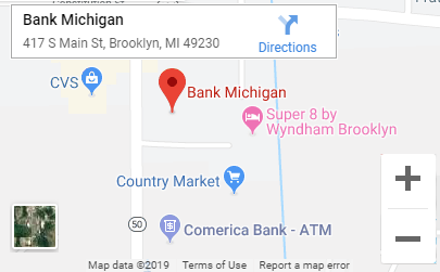 Google map to Bank Michigan's main branch